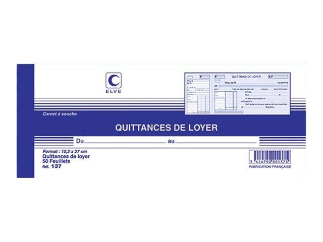 ELVE - Carnet à souche quittances de loyer - 50 feuillets - 10 x 27 cm