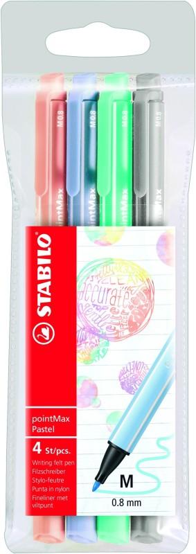 STABILO pointMax - 4 feutres d'écriture - pointe moyenne - couleurs pastels assorties