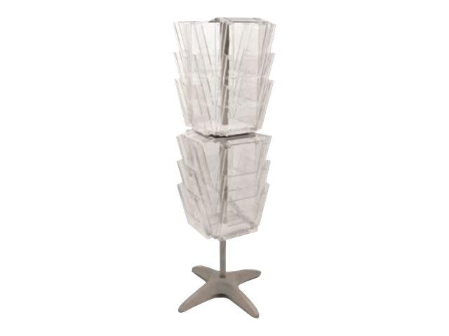 Promocome - Présentoir de sol rotatif pour brochures A4 - carroussel 24 compartiments