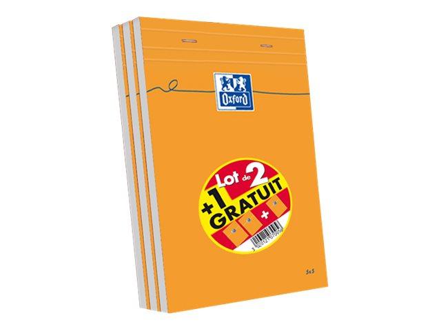 Oxford - Pack de 3 Blocs notes - A5 - 160 pages - petits carreaux - 80g