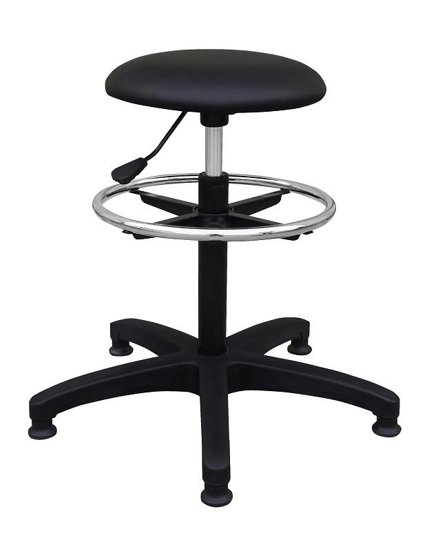 Siège technique TAB - tabouret assis-debout - hauteur réglable jusqu'à 82 cm - repose-pieds réglable - noir