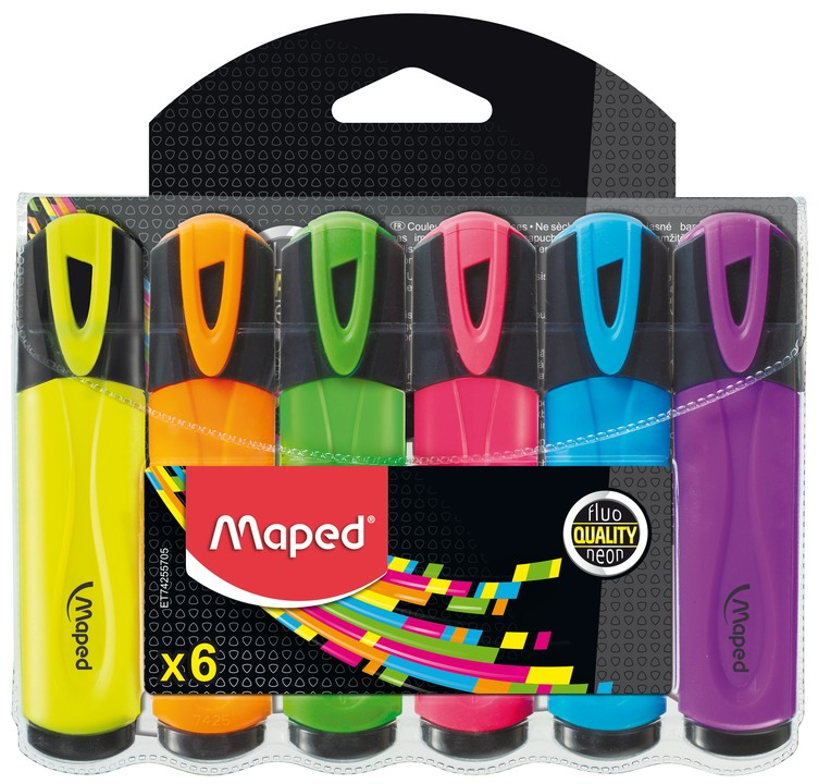 Maped Fluo Peps Classic - Pack de 6 surligneurs - couleurs assorties