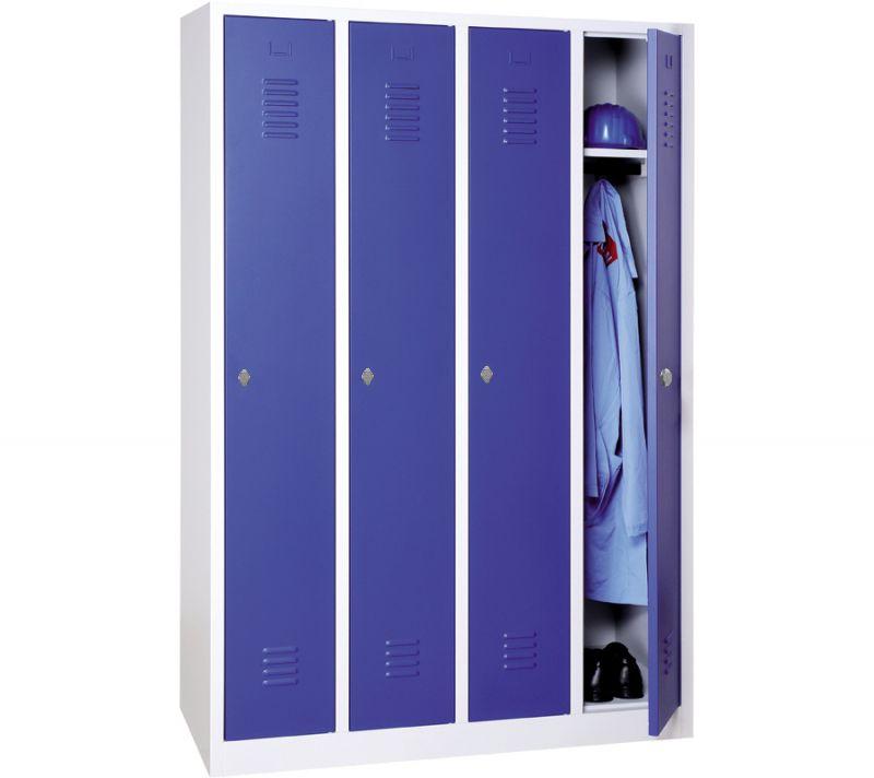 Vestiaire industrie propre monobloc 4 colonnes - H180 x L120 x P50 cm - gris/bleu