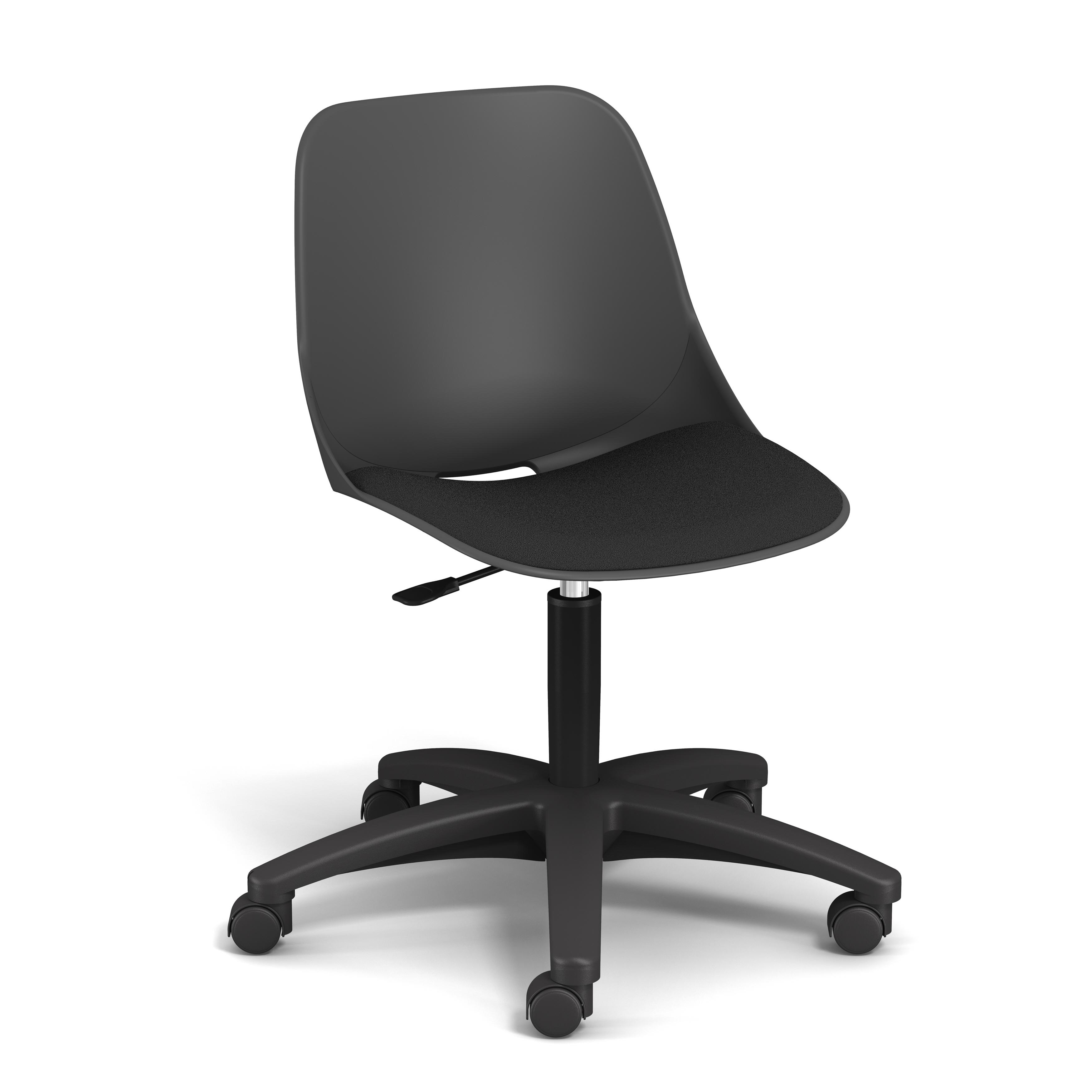 Chaise PALM - coque noire - assise noir - base noire