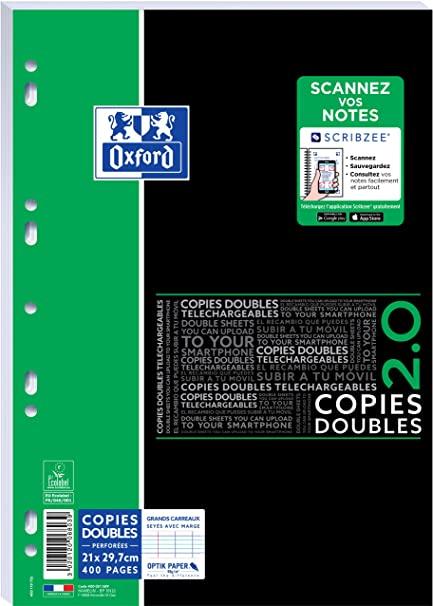Oxford - 400 copies doubles A4 - grands carreaux - perforées