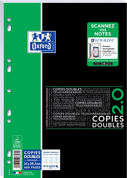Oxford - 400 copies doubles A4 - grands carreaux (Seyes) - perforées