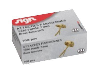 Sign - 100 attaches parisiennes - 15 mm - laiton