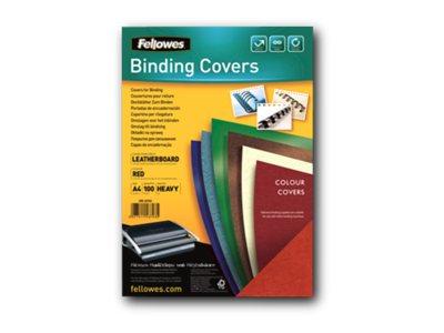 Fellowes - couvertures à reliure A4 (21 x 29,7 cm) - carton grain cuir 250 g/m² - rouge