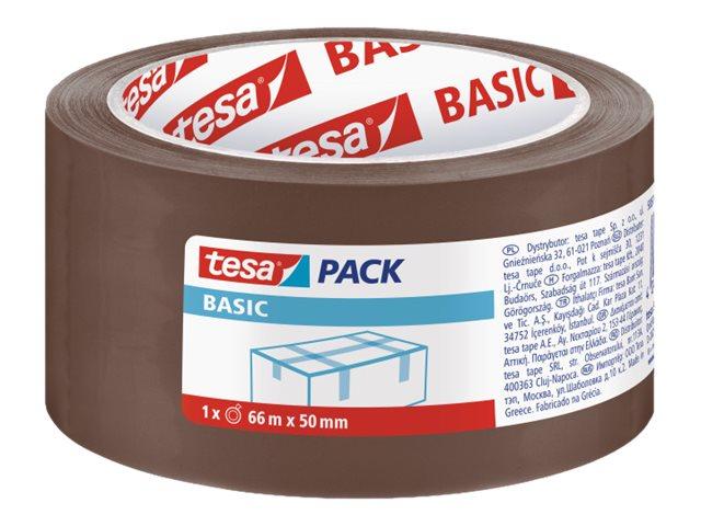 Tesapack Basic - 6 Rubans adhésifs d'emballage - 50 mm x 66 m - havane