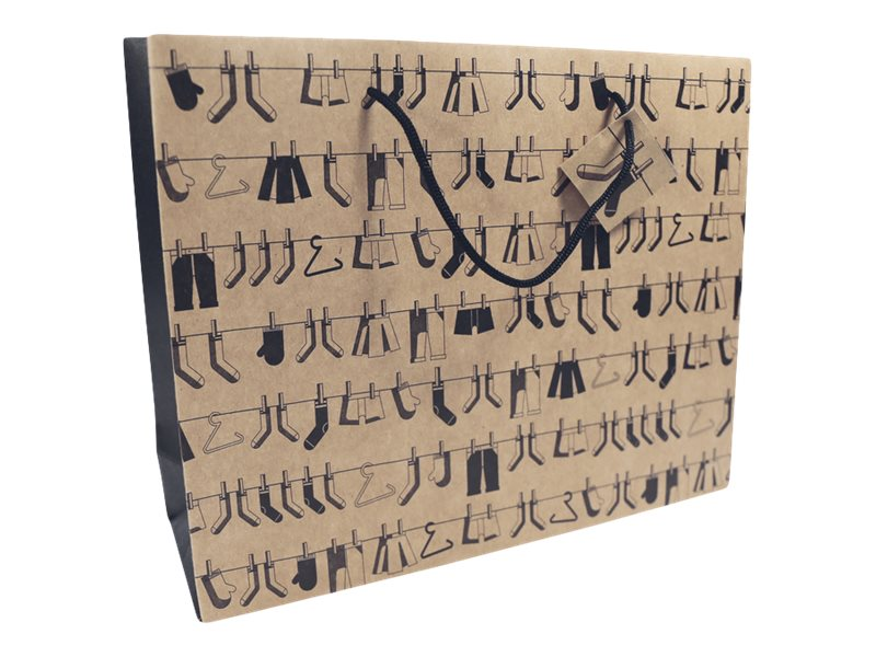 Clairefontaine - Sac cadeau kraft - 35 cm x 10 cm x 27,5 cm - différents motifs pictos