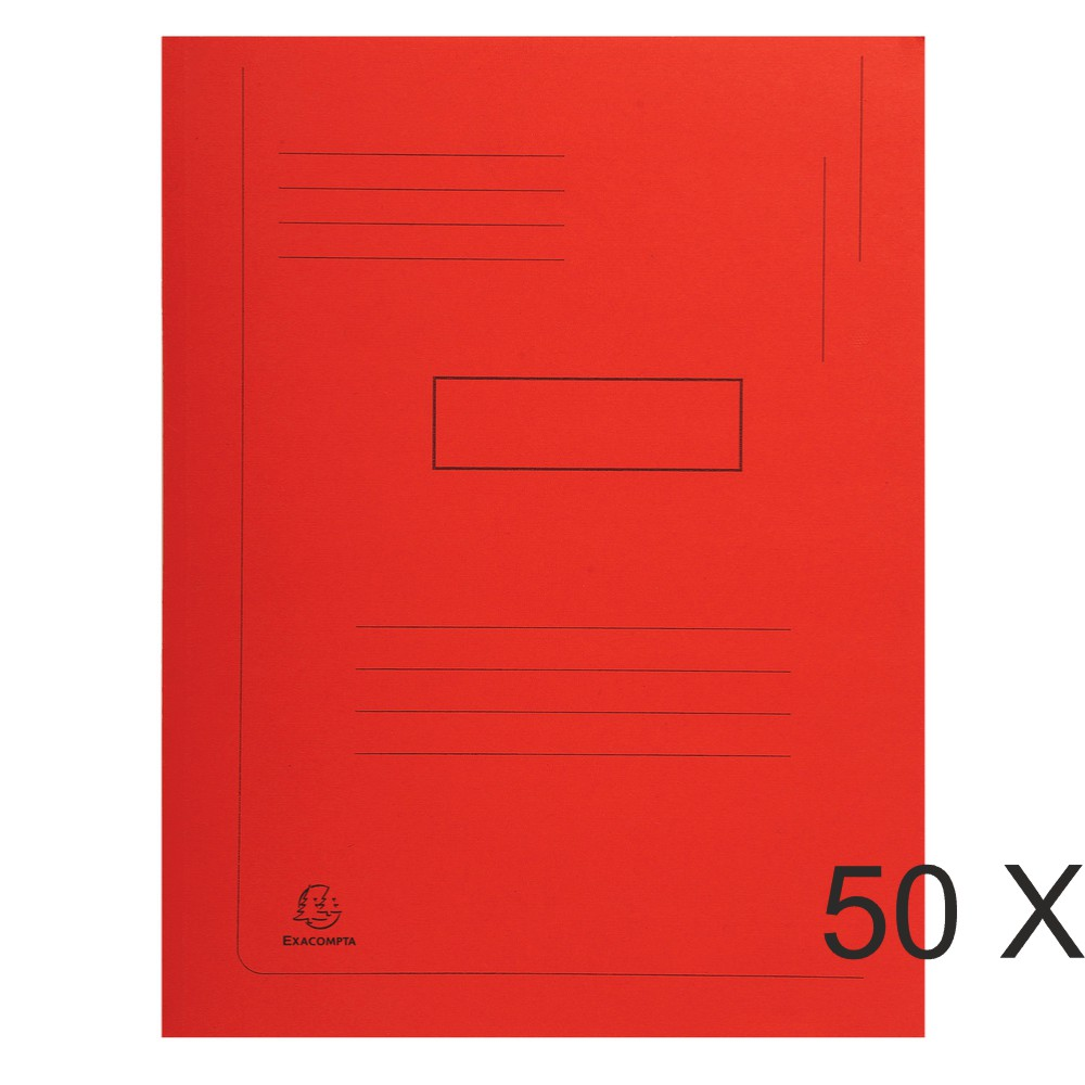 Exacompta Forever - 50 Chemises imprimées 2 rabats - 290 gr - rouge