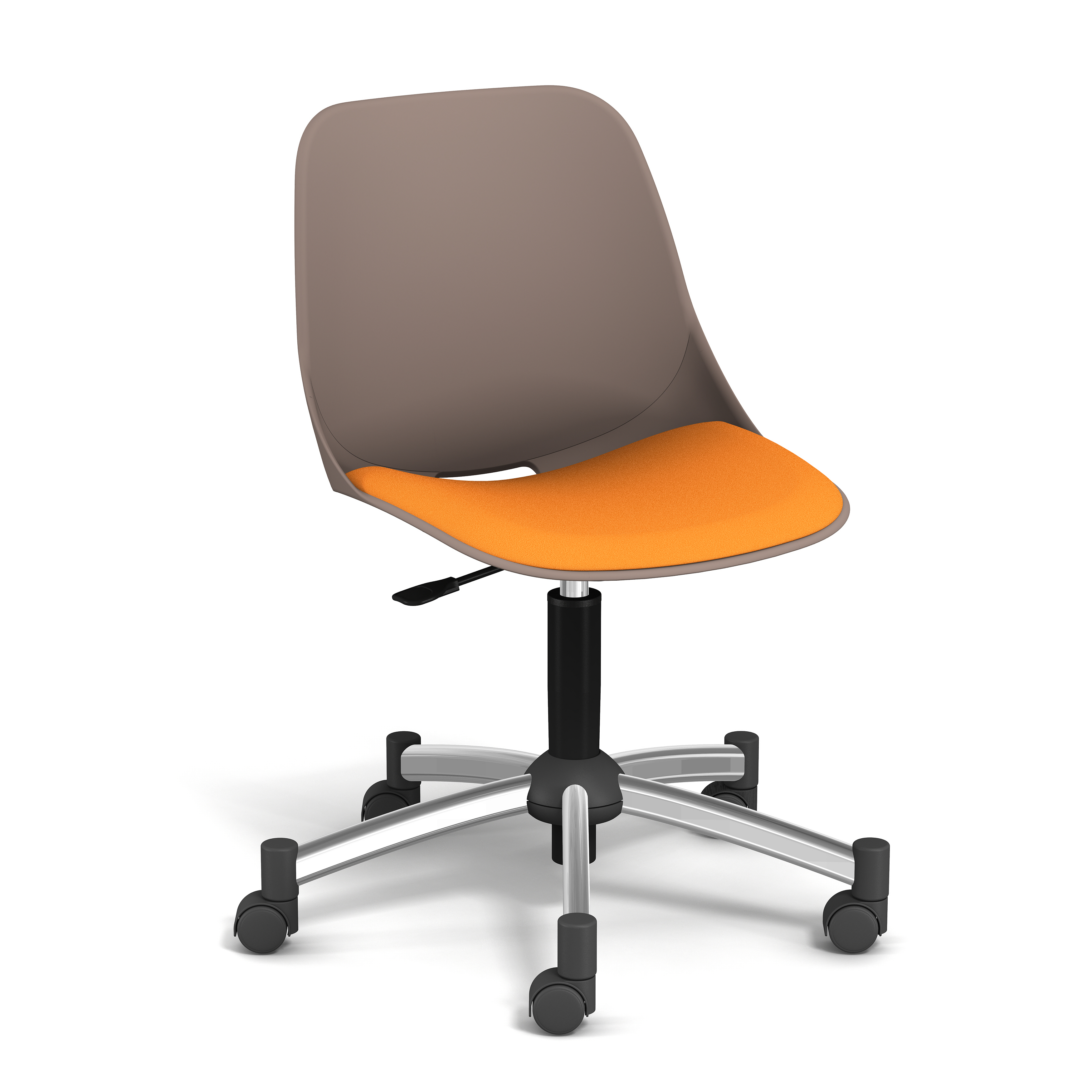Chaise PALM - coque taupe - assise mandarine - base chromé