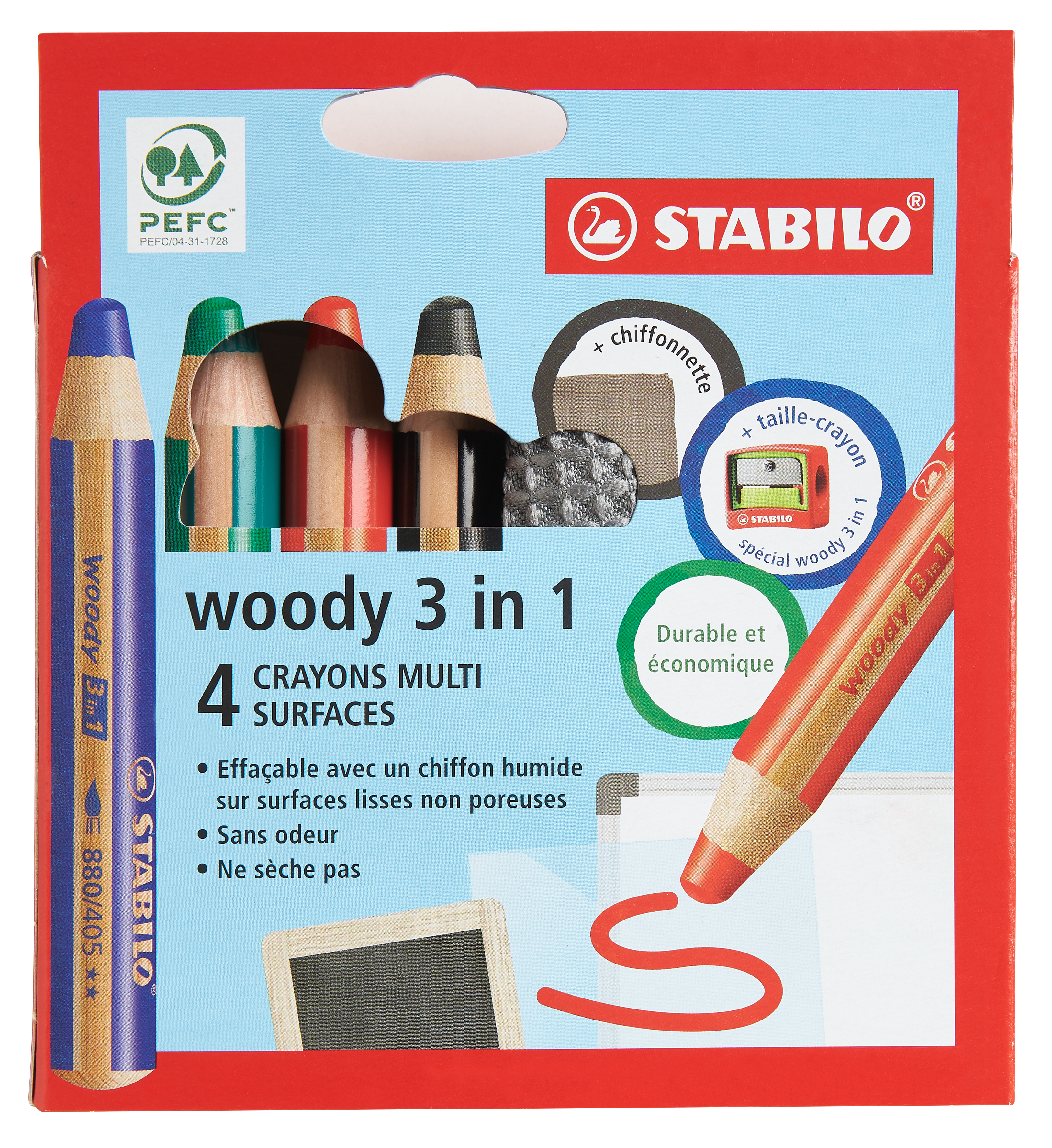 STABILO Woody 3 in 1 - Pack de 4 crayons pointe large pour ardoise - avec taille-crayon et chiffonnette - couleurs assorties