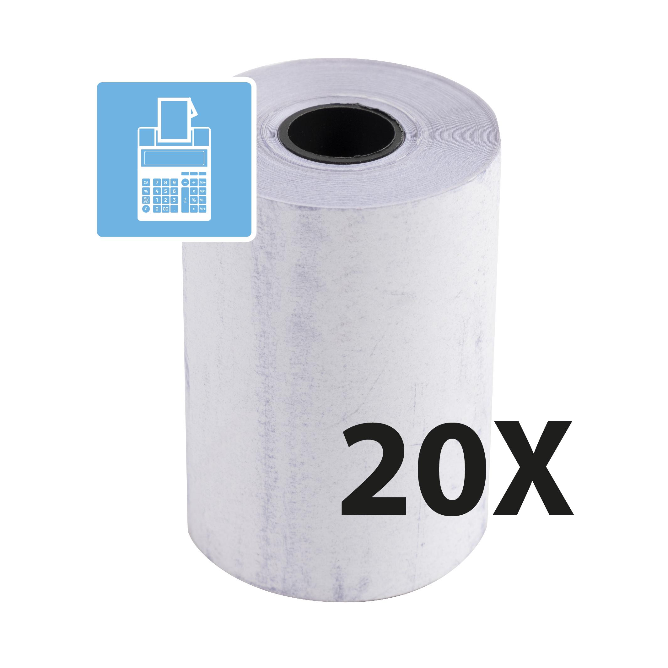 Exacompta - carton de 4 lots de 20 Bobines pour TPE - papier thermique 57 x 40 x 12 mm - 2 plis chimique autonome
