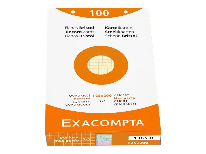 Exacompta - Pack de 100 Fiches Bristol - 12,5 x 20 cm - petits carreaux - perforées - couleurs assorties