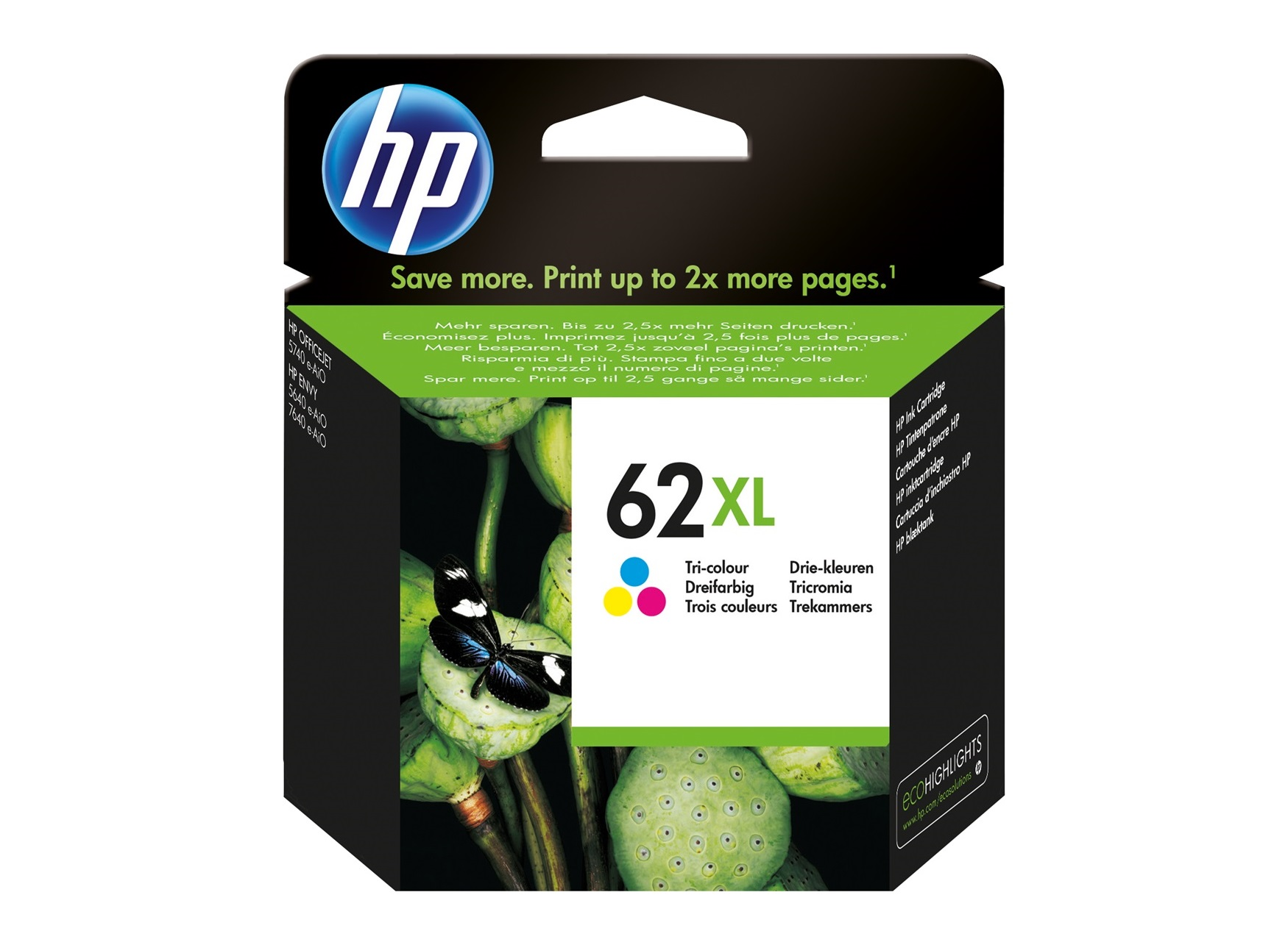HP 62XL - cyan, magenta, jaune - cartouche d'encre originale