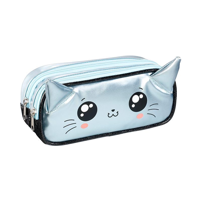 Trousse rectangulaire Sweet Cat - 2 compartiments - bleu pastel - Viquel