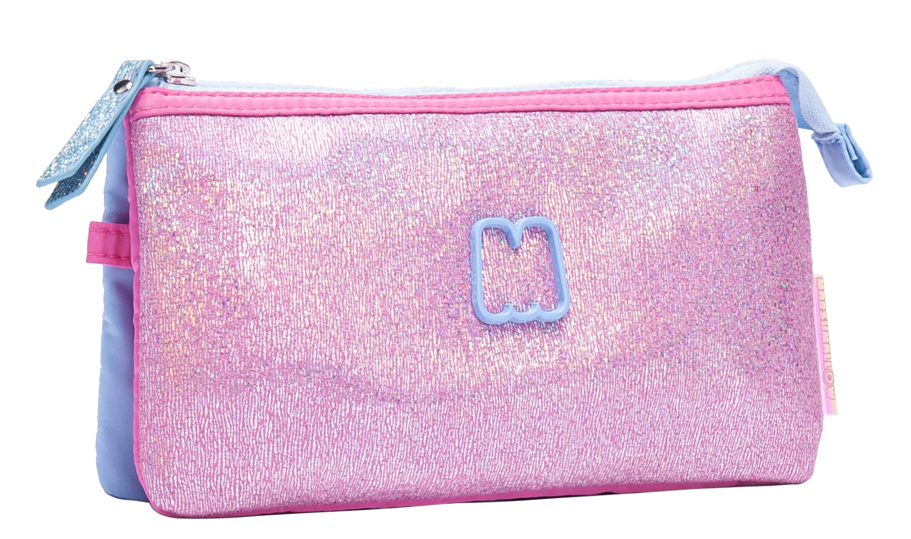 Trousse rectangulaire MARSHMALLOW Sparkly blue - 3 compartiments - Kid'Abord