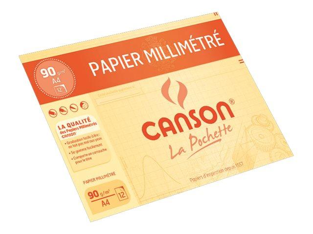 Canson - Pochette papier à dessin millimétré - 12 feuilles - A4 - 90G