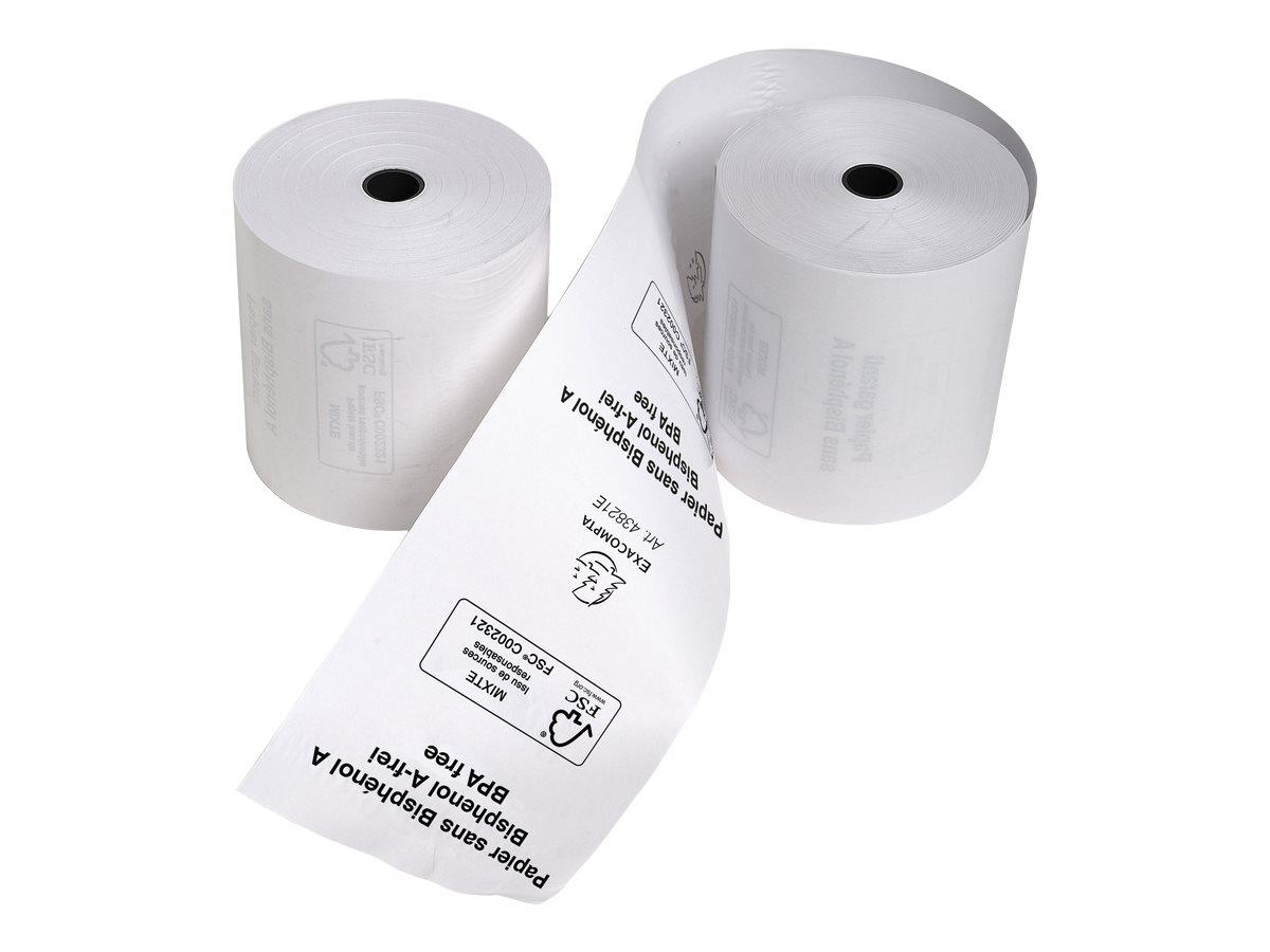 Exacompta - 6 Bobines caisses - papier thermique 80 x 80 x 12 mm - sans Bisphénol A - 72 m