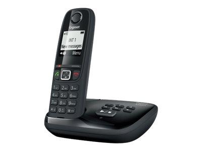 Gigaset AS470A Trio - téléphone sans fil - avec répondeur + 2 combinés supplémentaires - noir