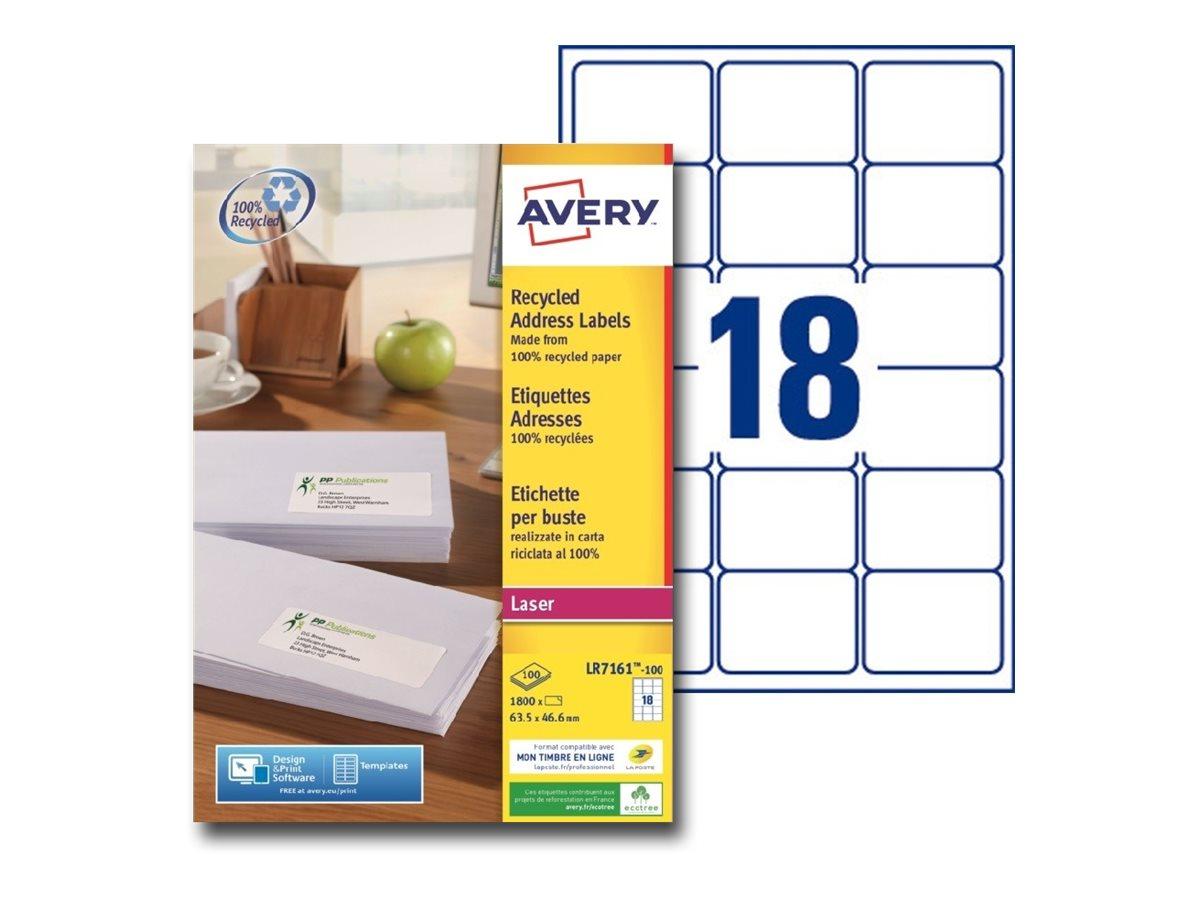 Avery - 1800 Étiquettes adresse recyclées blanches - 63,5 x 46,6 mm - Impression laser - réf LR7161-100