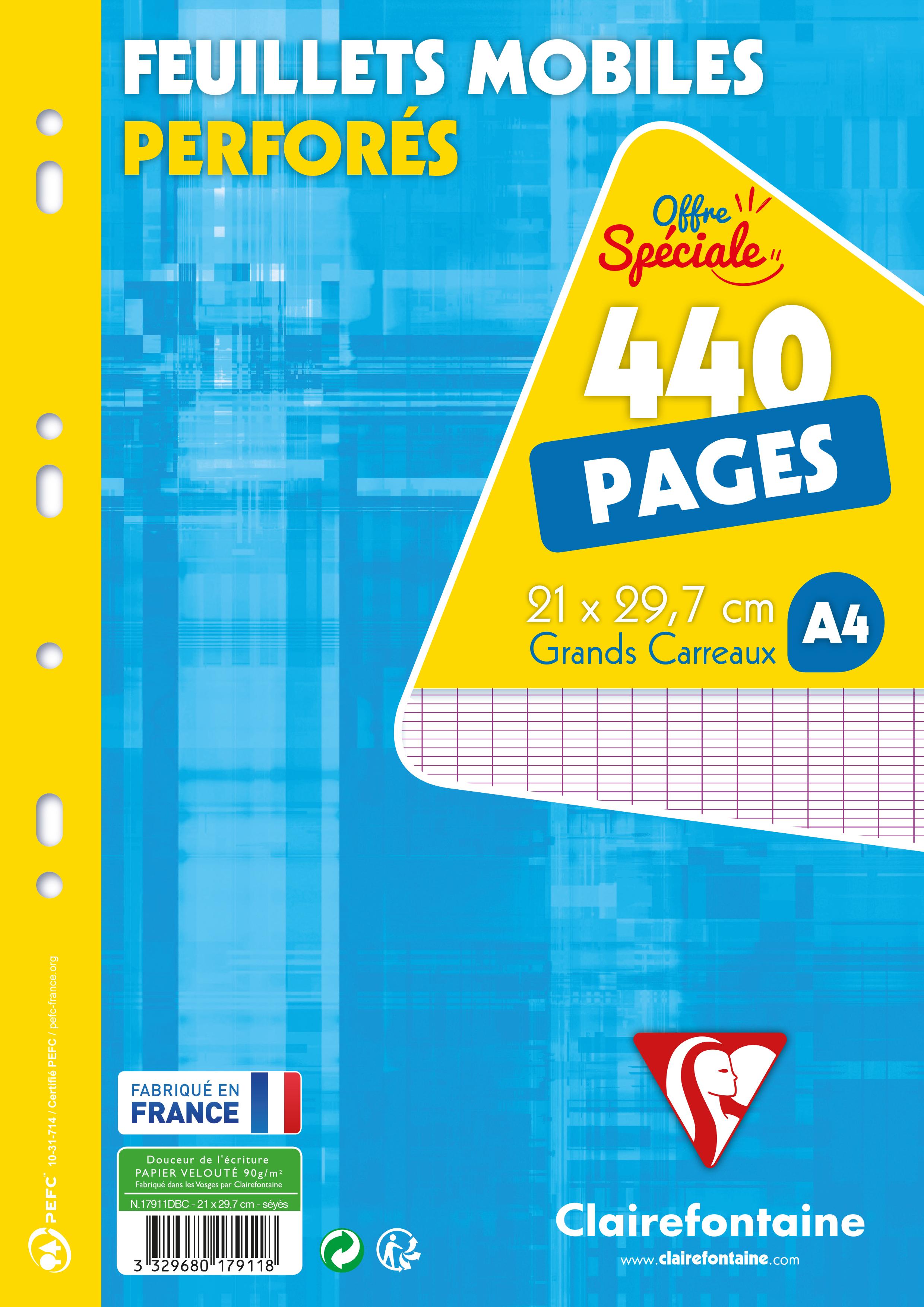 Clairefontaine - 440 feuilles simples A4 - grands carreaux (Seyes) - perforées