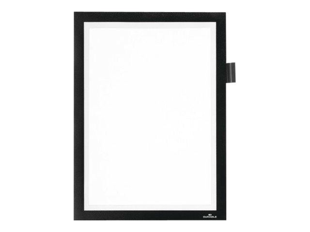 Durable Duraframe Note - Cadre d'affichage adhésif - A4 - noir - avec porte-stylo
