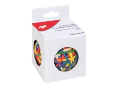 Sign - Boule de 270 bracelets caoutchouc - élastiques - couleurs assorties
