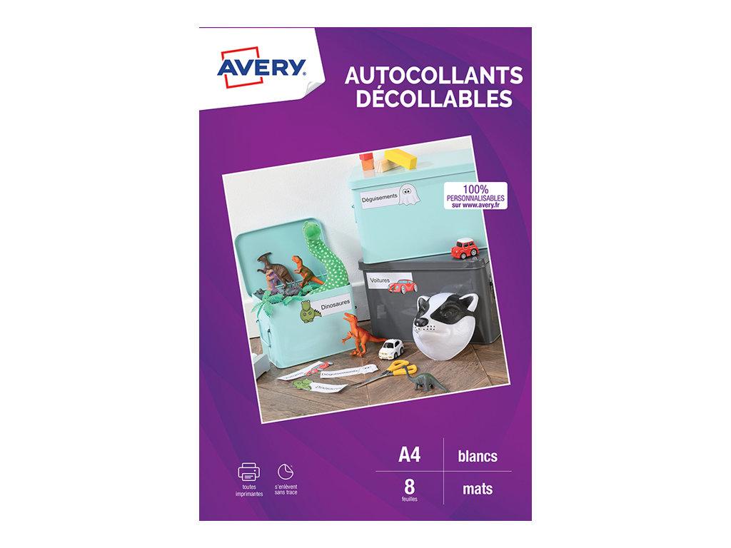 Avery - Autocollants décollables blanc mat - 8 feuilles A4