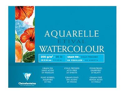 Clairefontaine Etival - Bloc de papier aquarelle - 25 feuilles 18 x 24 cm - 200 g/m²
