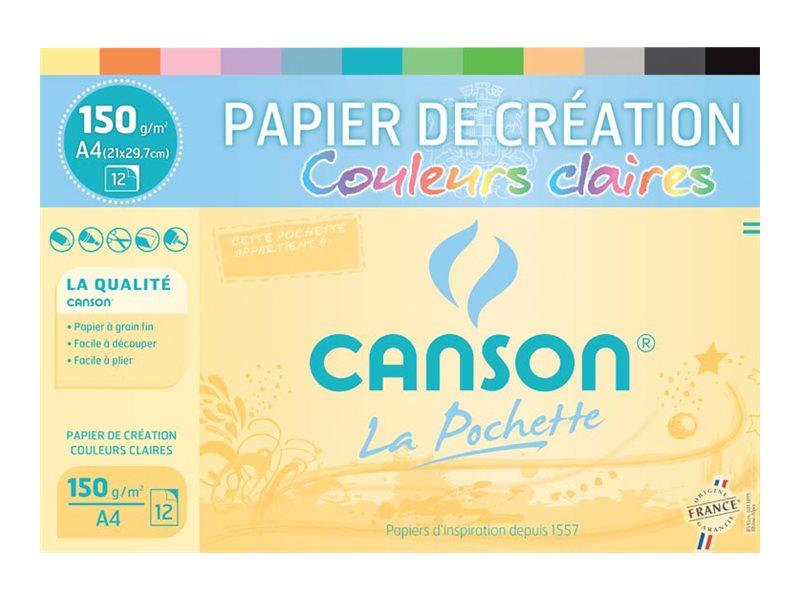 Canson Création - Pochette papier à dessin - 12 feuilles - A4 - 150 gr - couleurs claires
