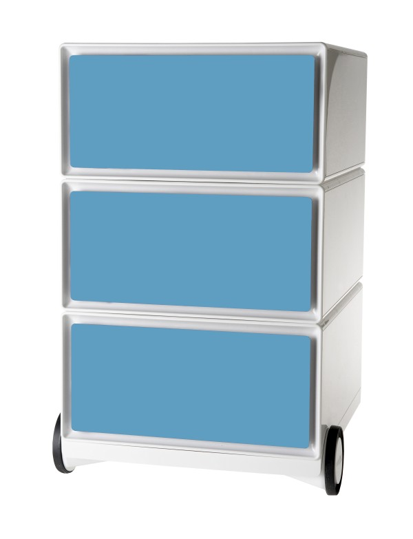Caisson de bureau mobile EASYBOX - 3 tiroirs - Bleu