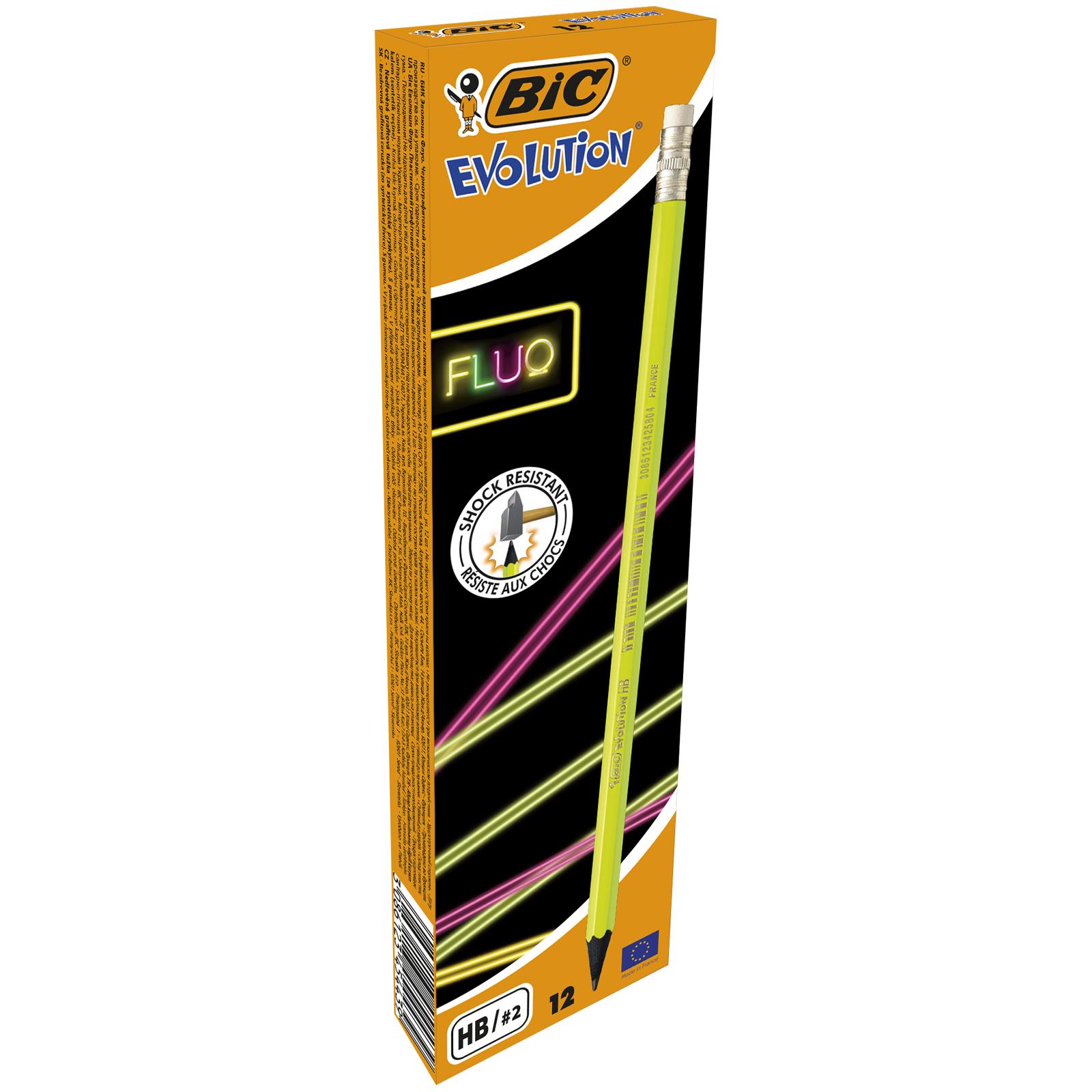 BIC Evolution FLUO - Pack de 12 crayons à papier - couleurs assorties