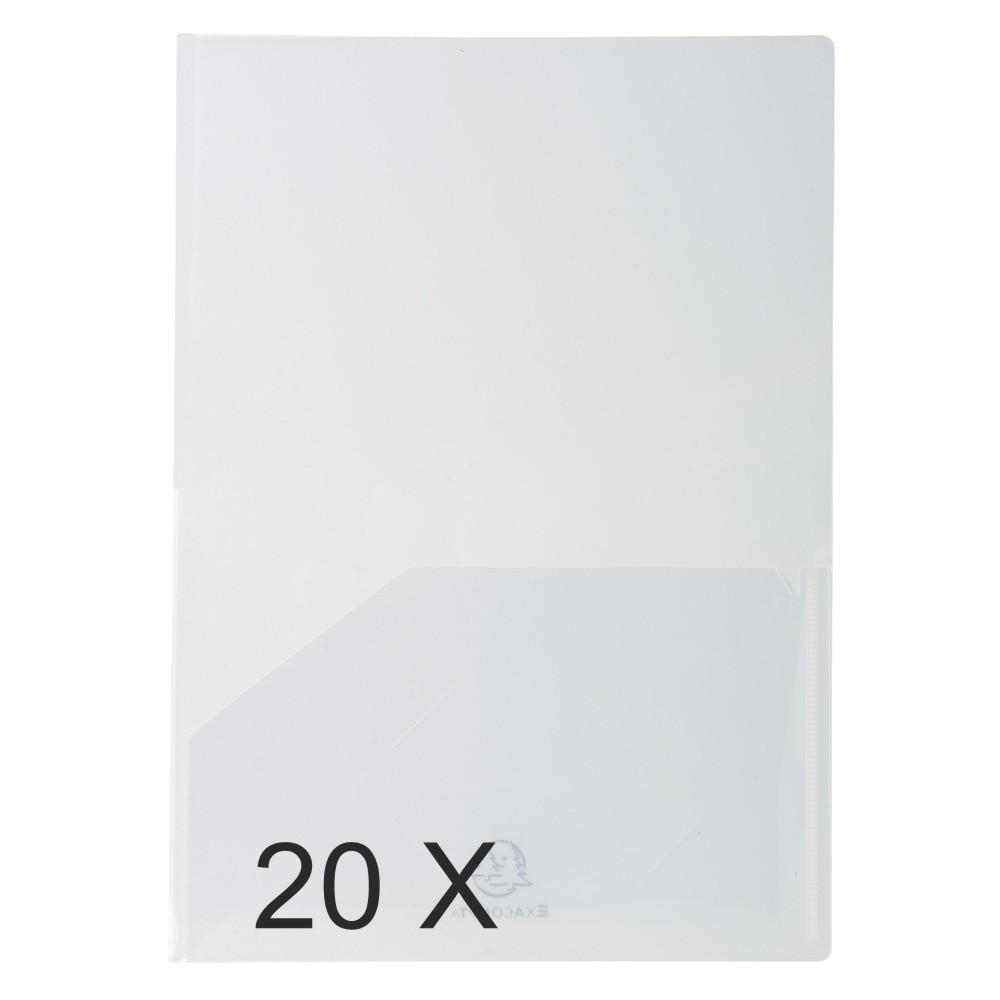 Exacompta - 20 Chemises double poche polypro - A4/A3 - cristal