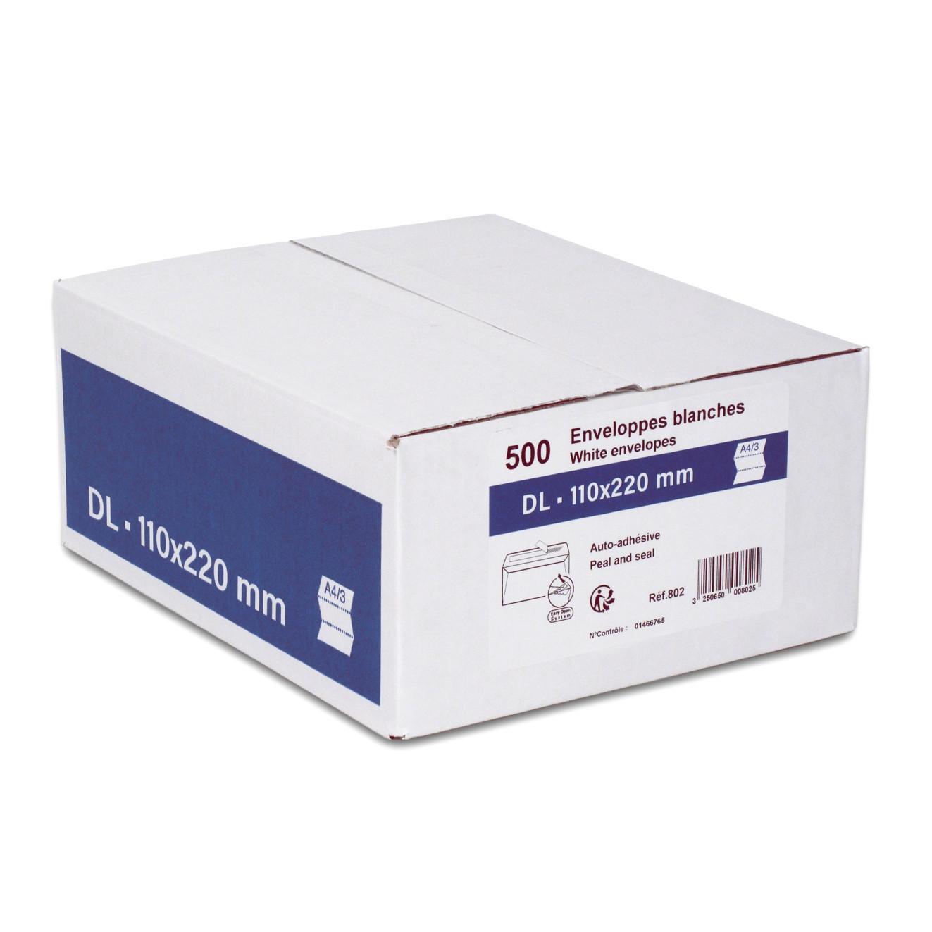 GPV - 500 Enveloppes DL 110 x 220 mm - 80 gr - sans fenêtre - blanc - bande adhésive