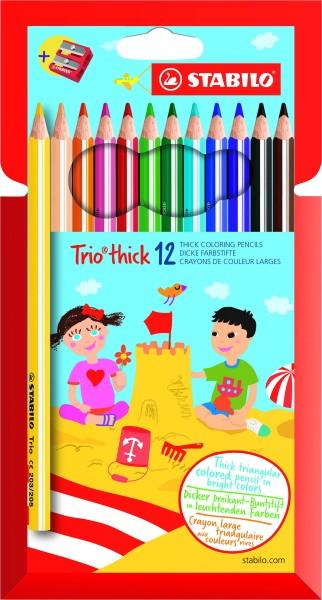 STABILO Trio thick - 12 crayons de couleur + 1 taille crayon
