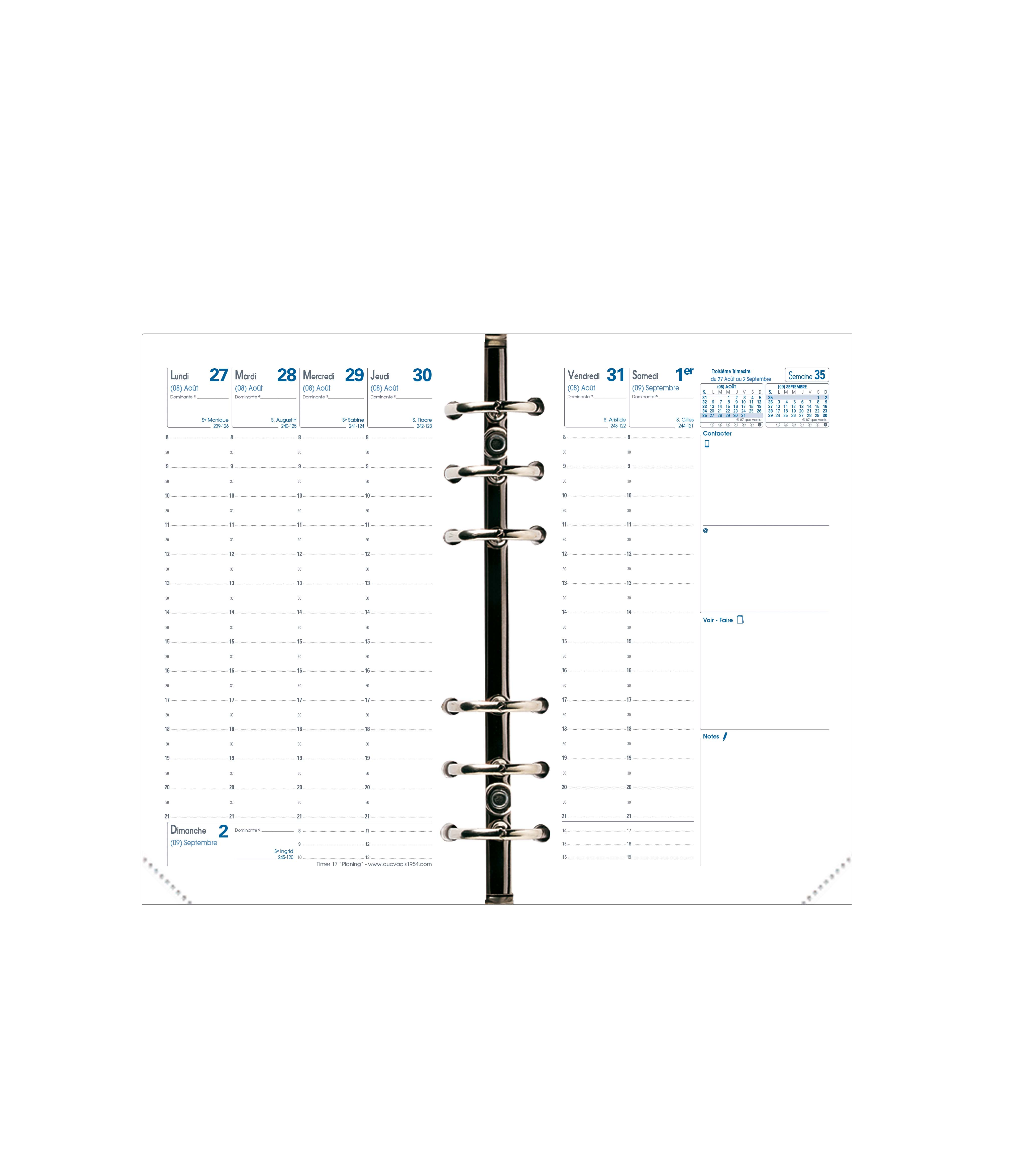Recharge pour organiseur Timer 17 Planning - 1 semaine sur 2 pages - 10 x 17 cm - Quo Vadis