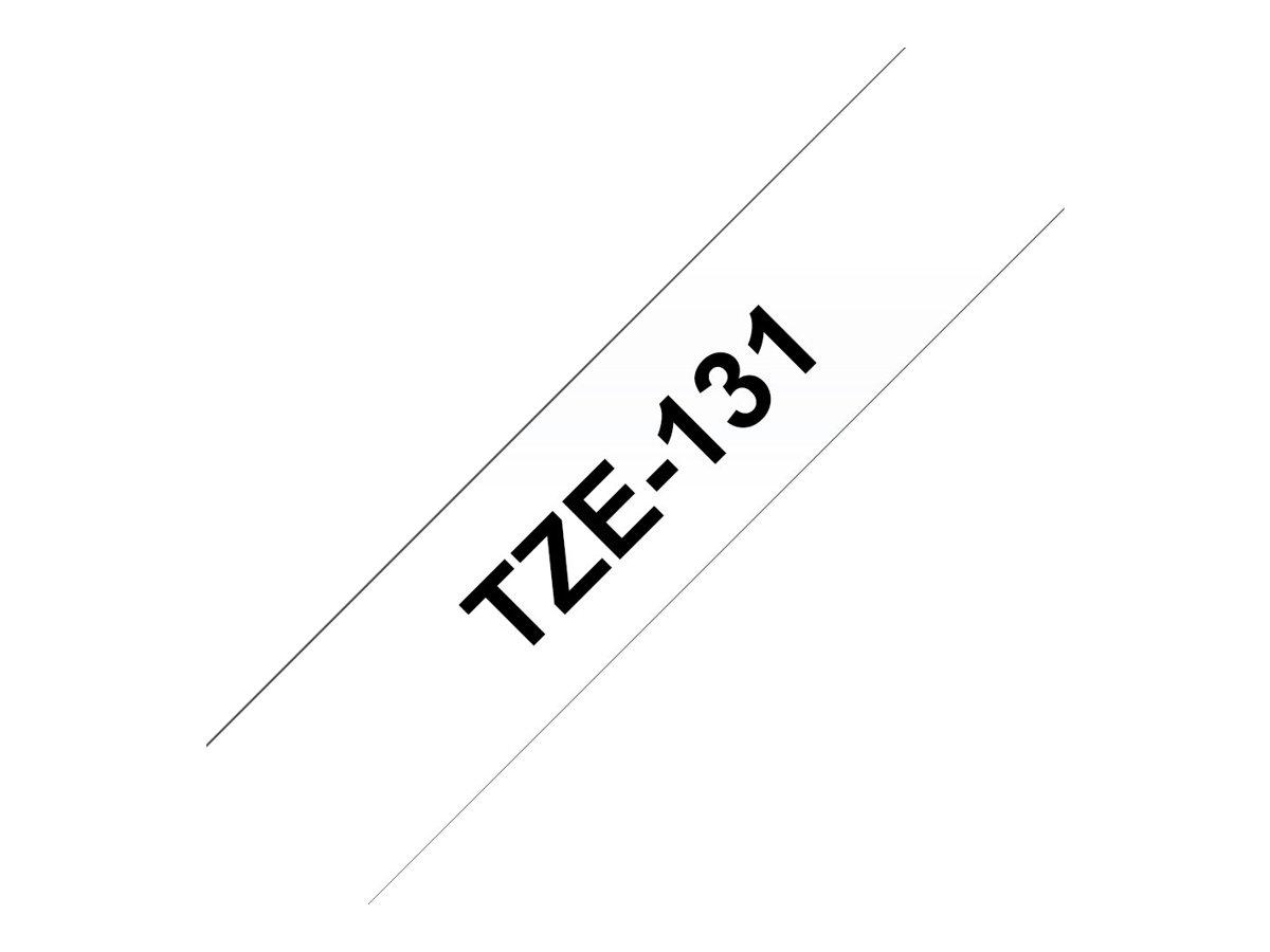 Brother TZe131 - Ruban d'étiquettes auto-adhésives - 1 rouleau (12 mm x 8 m) - fond transparent écriture noire