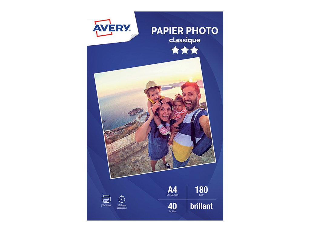 Avery - Papier Photo brillant - A4 - 180 g/m² - impression jet d'encre - 40 feuilles