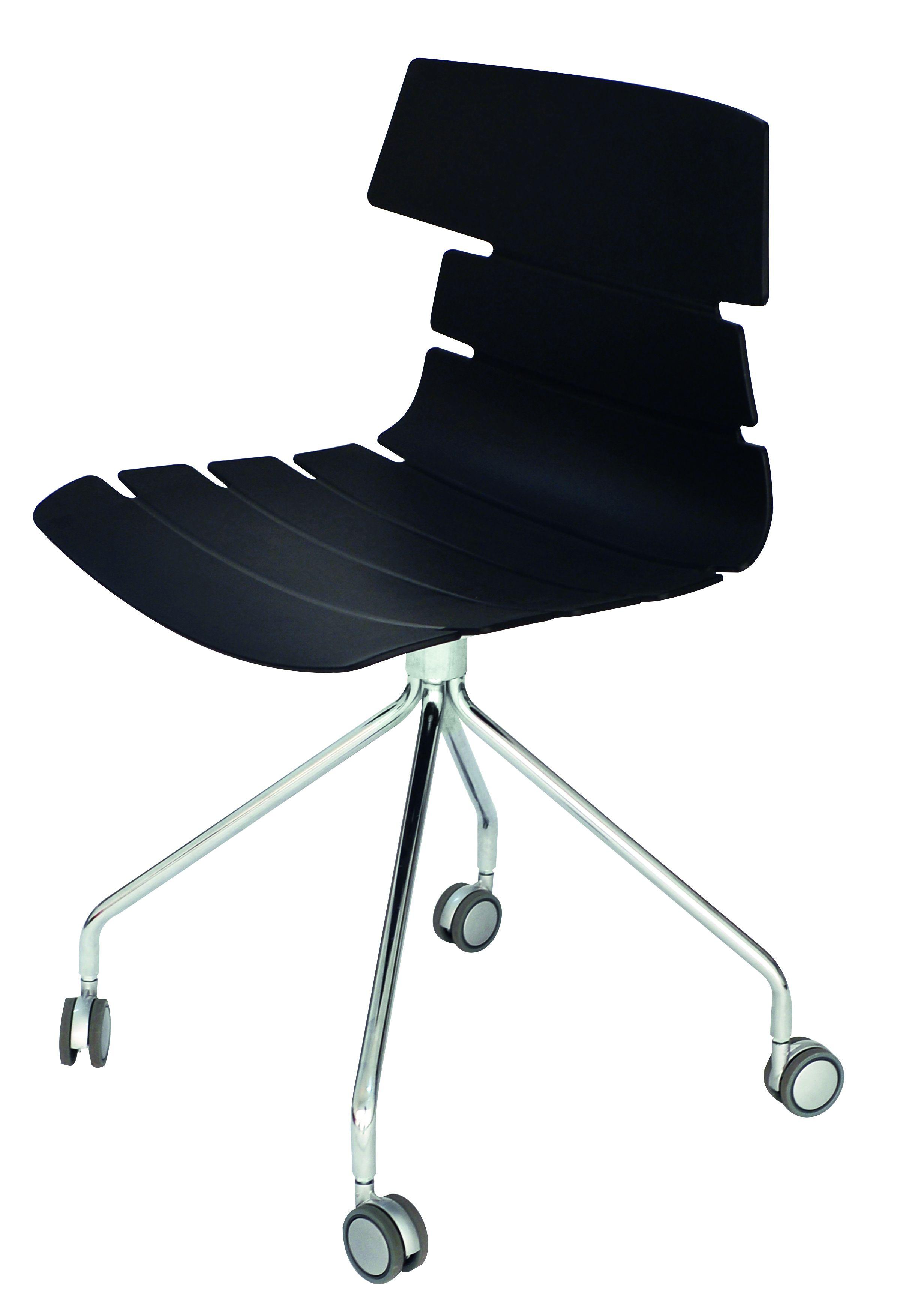 Chaise JUNE - pieds métal avec roulette - coque noire