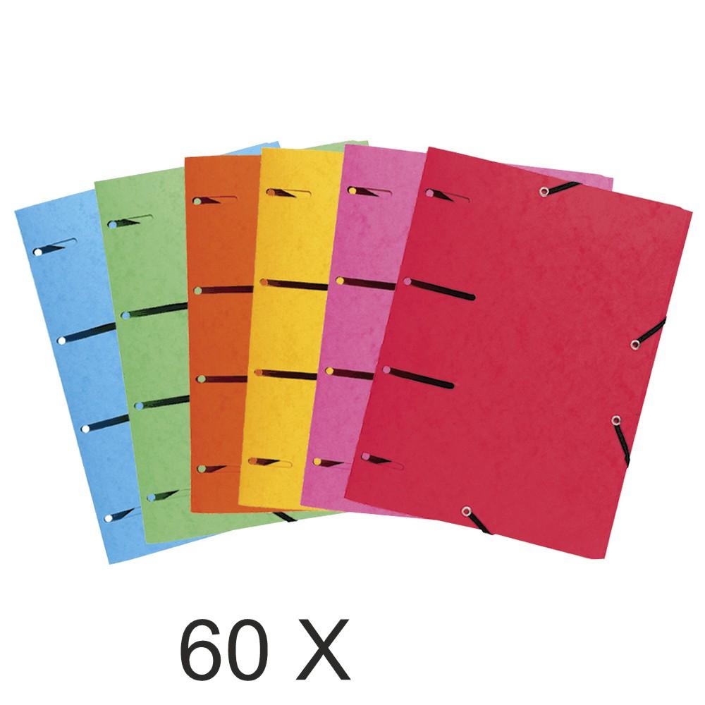 Exacompta Punchy - 10 Paquets de 6 Chemises à élastiques - couleurs assorties