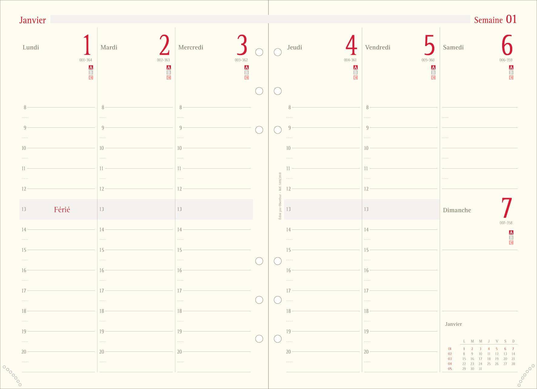 Oberthur 21 - Recharge pour organiseur - 1 semaine sur 2 pages à la verticale - 15 x 21 cm