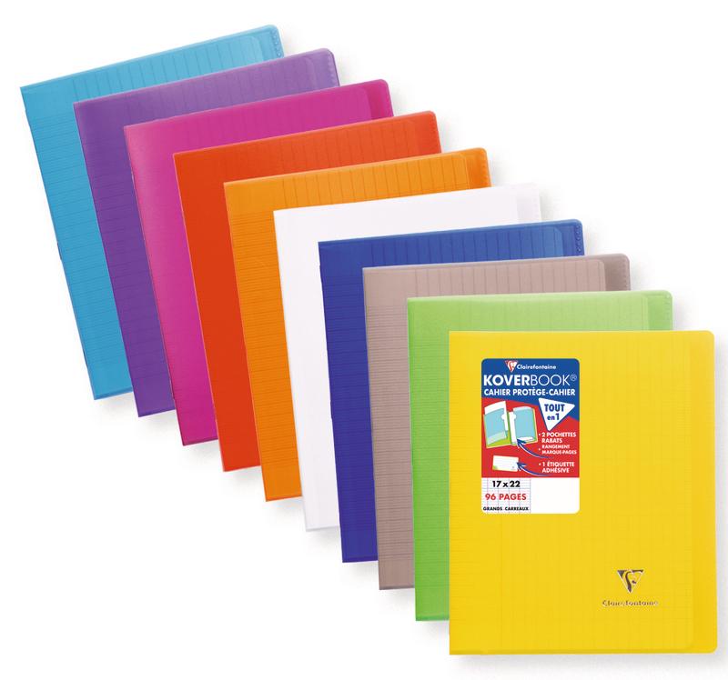 Clairefontaine Koverbook - Cahier polypro 17 x 22 cm - 96 pages - grands carreaux (Seyes) - disponible dans différentes couleurs