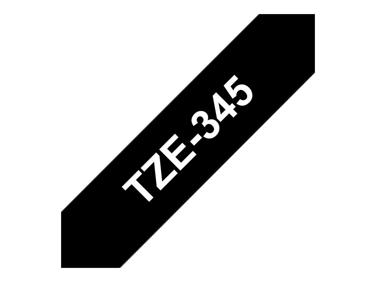 Brother TZe345 - Ruban d'étiquettes auto-adhésives - 1 rouleau (18 mm x 8 m) - fond noir écriture blanche