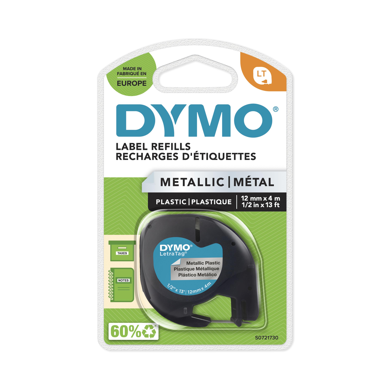 Dymo LetraTAG - Ruban d'étiquettes métallisé auto-adhésives - 1 rouleau (12 mm x 4 m) - fond argent écriture noire