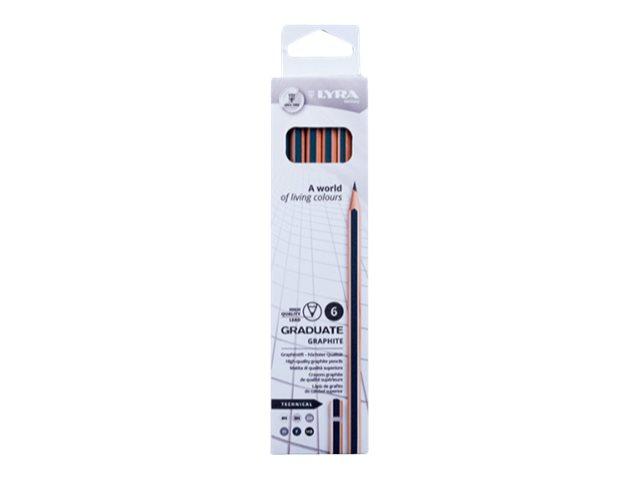Lyra Graduate Technical - 6 Crayons graphites - boîte métal - différentes tailles de mines