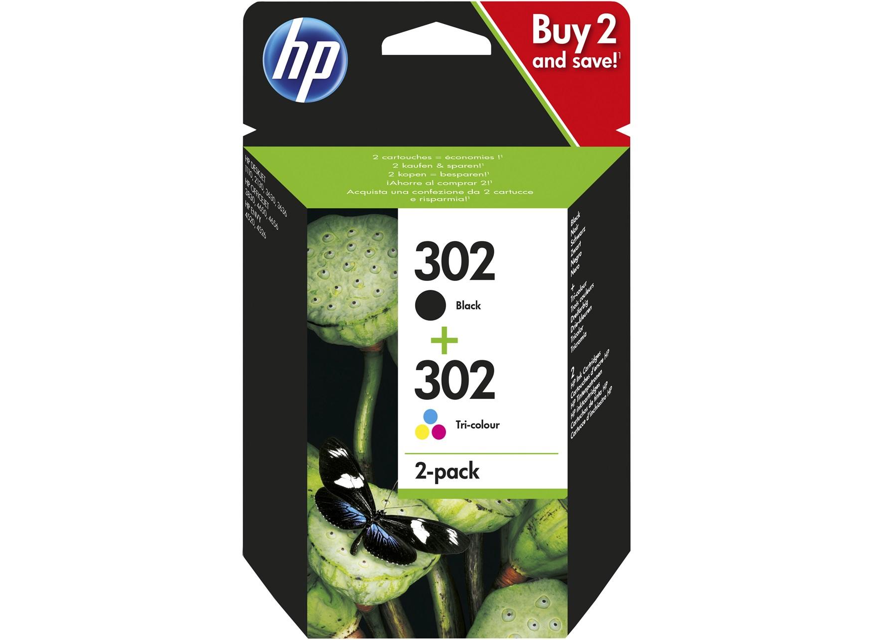 HP 302 - Pack de 2 - noir, cyan, magenta, jaune - cartouche d'encre originale