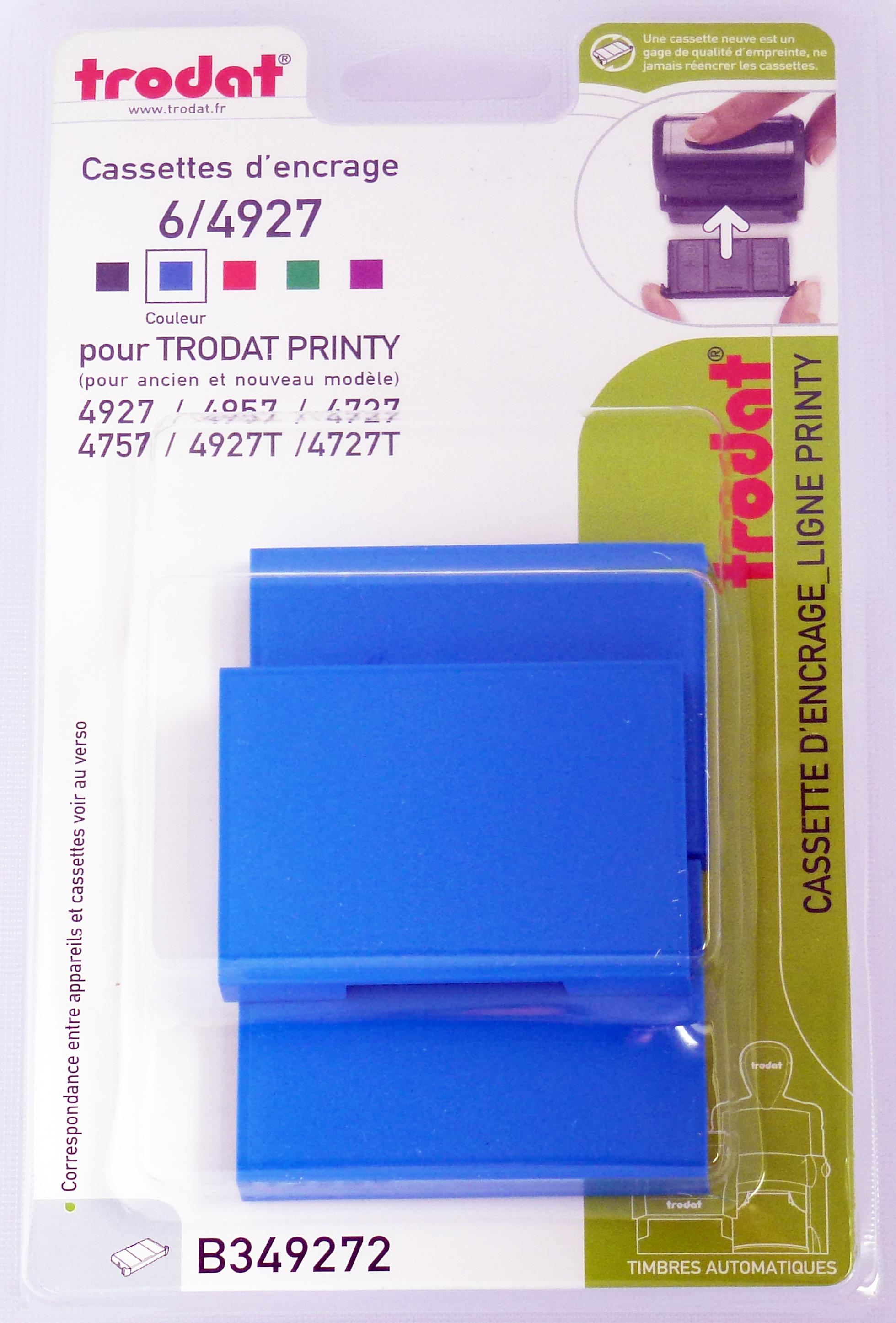 Trodat - 3 Encriers 6/4927 recharges pour tampon Printy 4927/4727/4957 - bleu