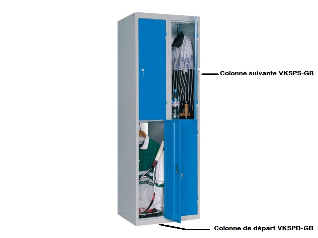 Vestiaire 2 casiers (à monter) - colonne suivante - H180 x L30 x P50 cm - gris/bleu